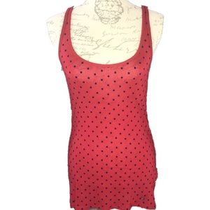 Abercrombie & Fitch Red with Blue Polka Dot Top L